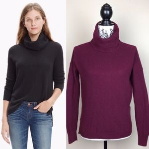 MADEWELL Ribbed Turtleneck Sweater in Wine Small